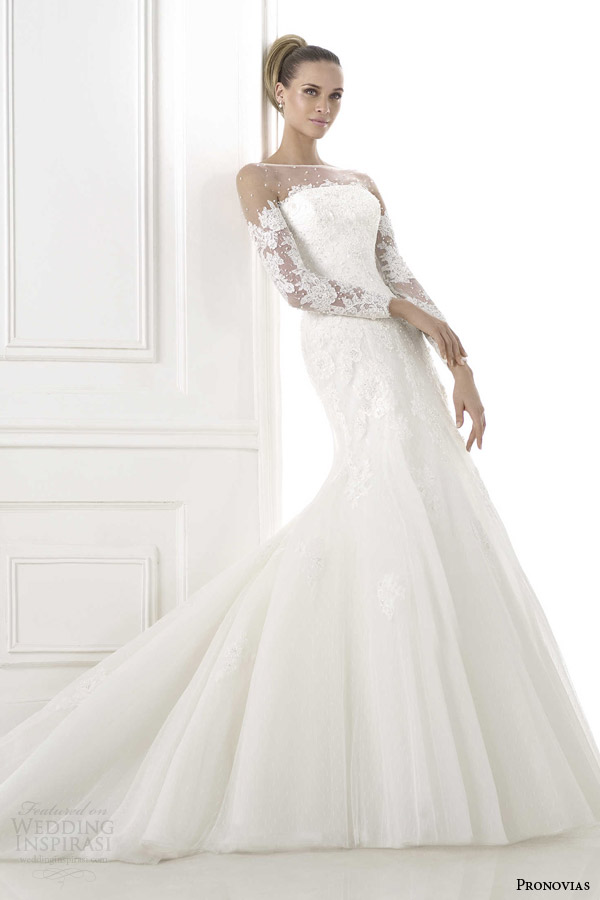pronovias 2015 blade wedding dress illusion neckline long sleeves