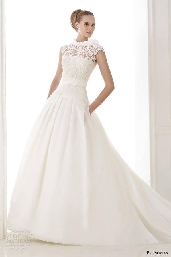 pronovias atelier 2015 pre kaethe strapless wedding dress pockets lace jacket