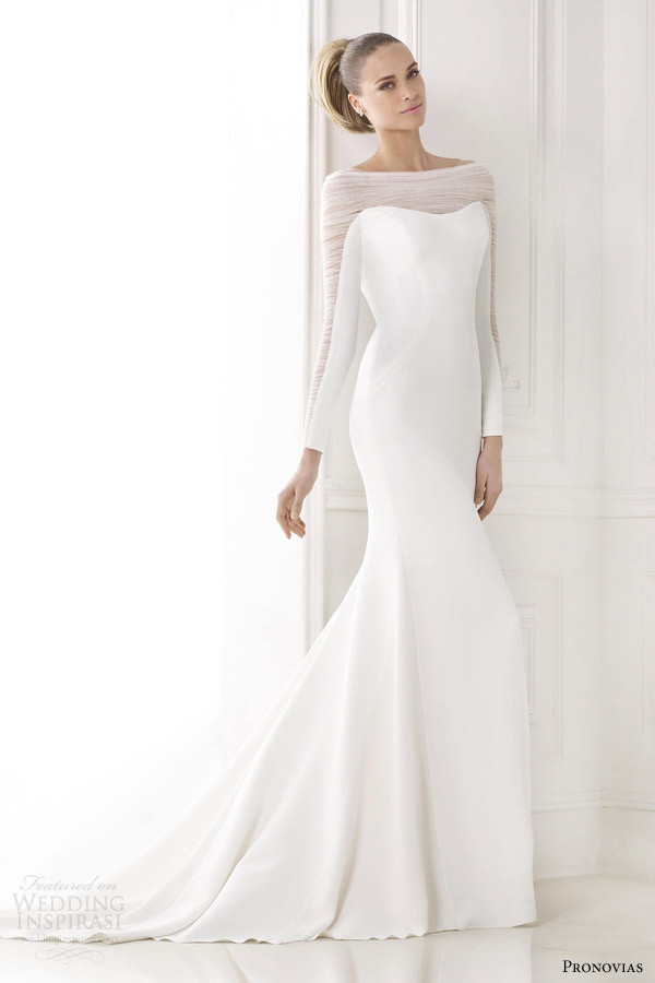 pronovias atelier bridal 2015 pre kainda illusion long sleeve wedding dress