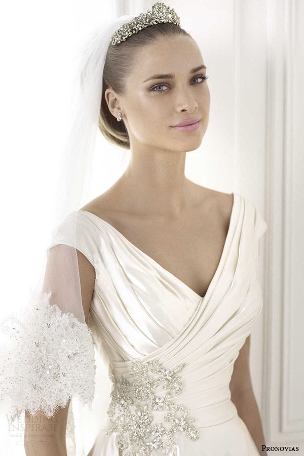 pronovias wedding dress 2015 blithe cap sleeve taffeta ball gown pockets close up