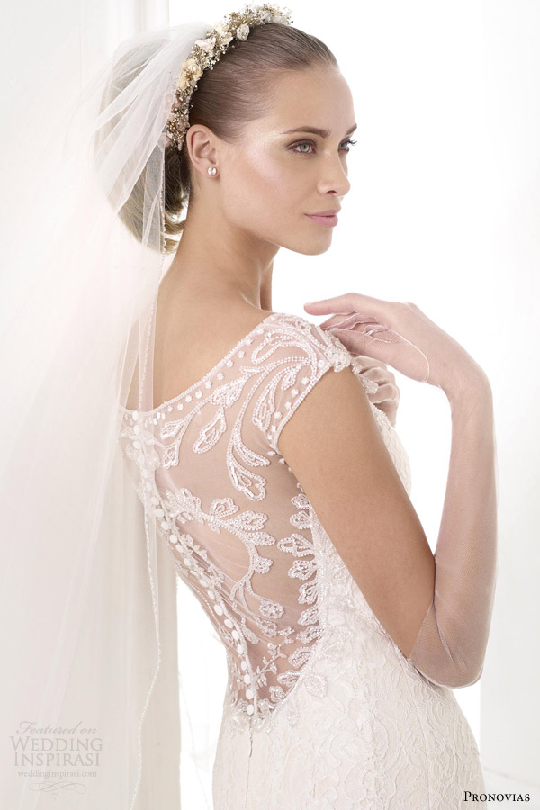 pronovias wedding dresses 2015 atelier collection kairos gown illusion neckline back
