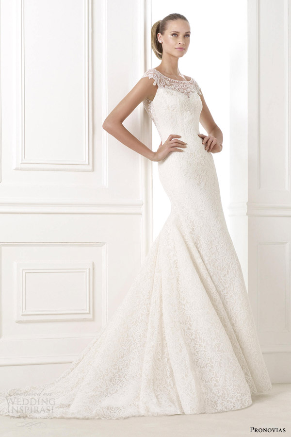pronovias wedding dresses 2015 atelier collection kairos gown illusion neckline