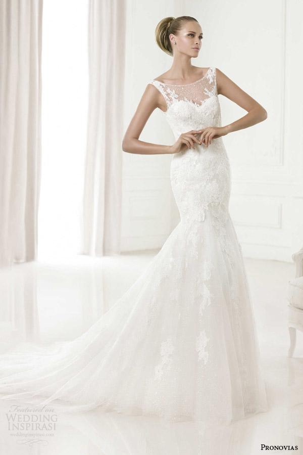 pronovias wedding dresses pre 2015 collection glamour babor illusion neckline