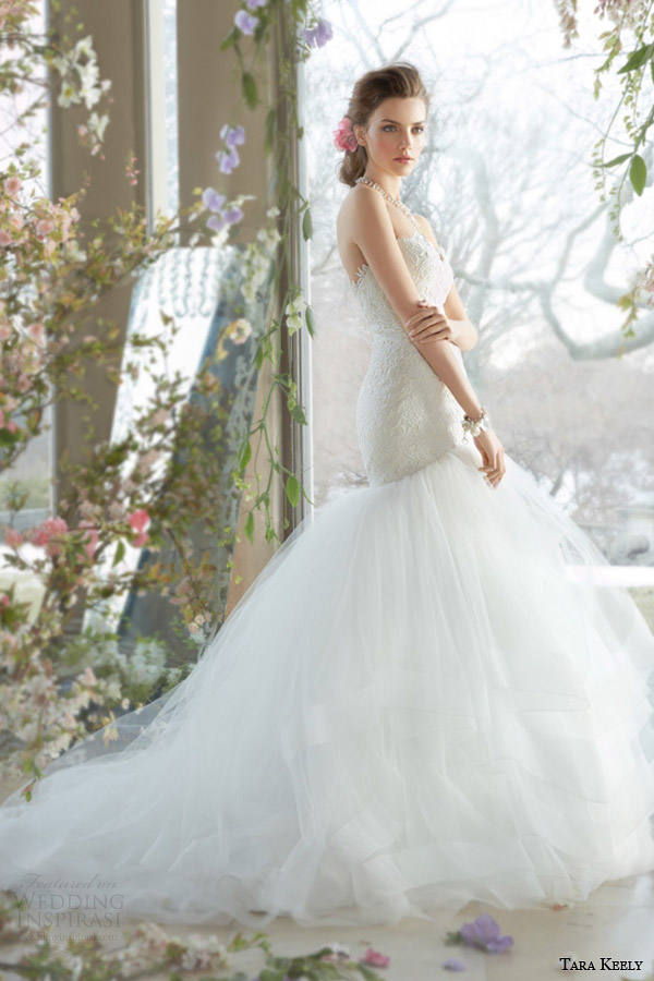 tara keely spring 2014 bridal strapless fit and flare wedding dress tiered tulle skirt horsehair 2400