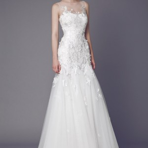 tony ward bridal 2015 stellaire sleeveless wedding dress illusion neckline