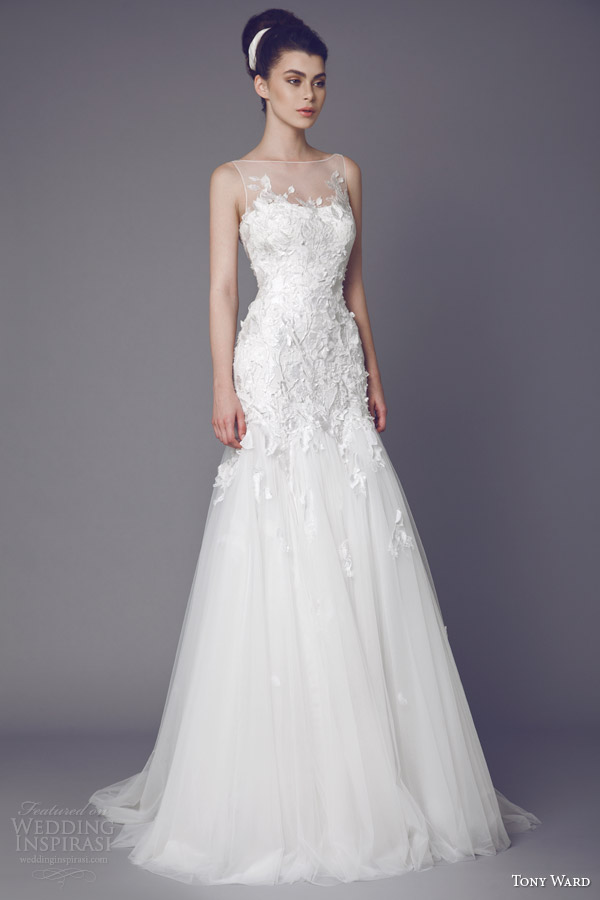 tony ward bridal 2015 stellaire sleeveless wedding dress illusion ...