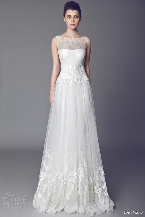 tony ward bridal 2015 violetta sleeveless wedding dress illusion ...