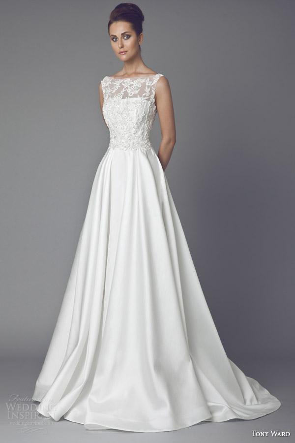 Tony ward bridal 2015 wedding dresses wedding inspirasi for A line illusion neckline wedding dress