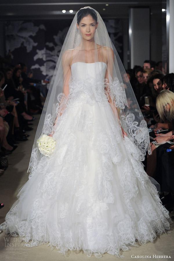 fd59792364345 carolina herrera bridal spring 2015 catarina strapless wedding dress  matching veil