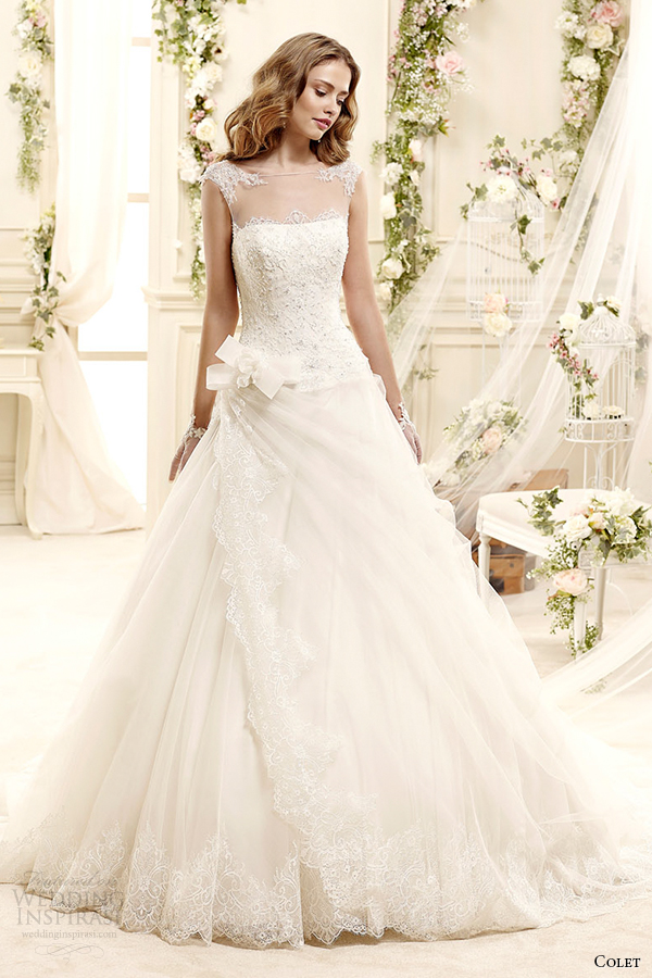 colet bridal 2015 style 12 coab15232iv illusion sheer neckline a line cap sleeve wedding dress