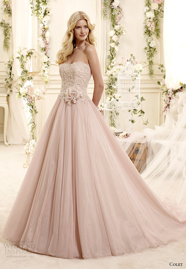 colet bridal 2015 style 13 coab15302pk sweetheart strapless blush color a line wedding dress