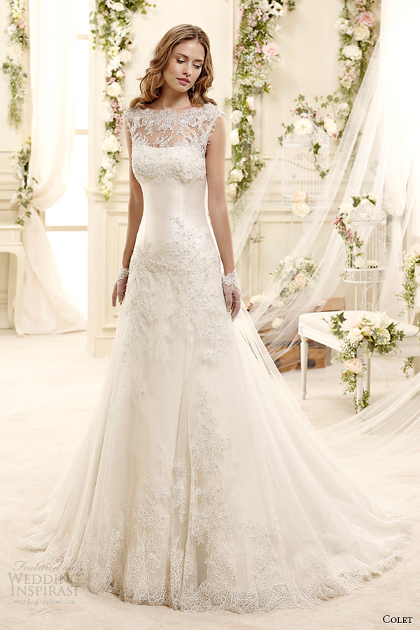 Style 14 coab15255iv illusion sheer neckline a line wedding dress cap