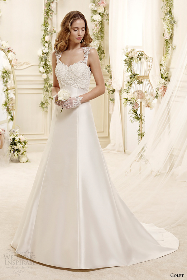 colet bridal 2015 style 17 coab15254iv sweetheart square strap a line wedding dress