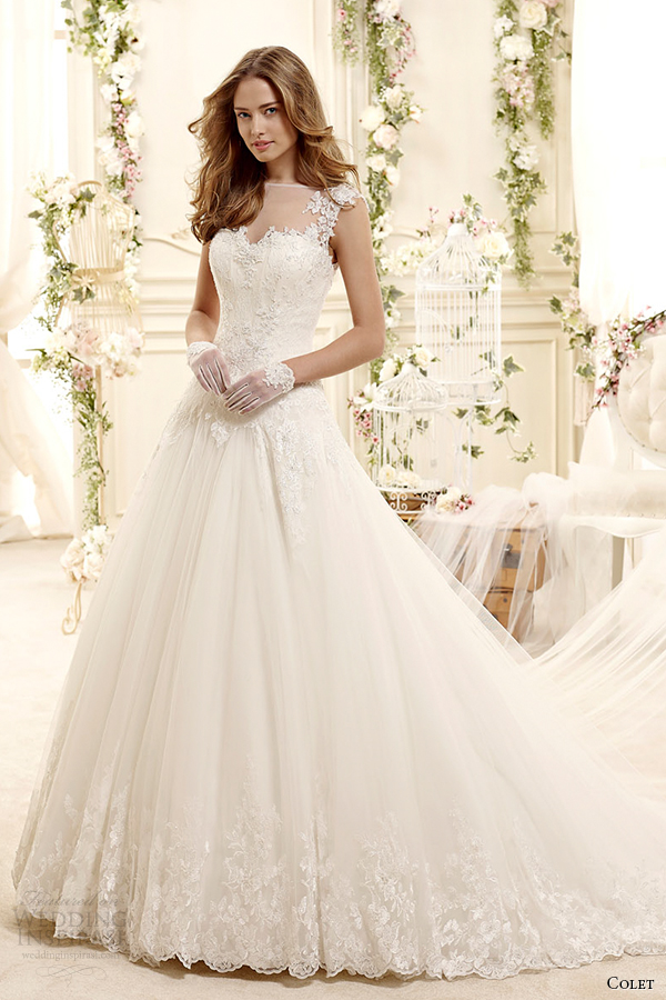 colet bridal 2015 style 18 coab15257iv sheer illusion neckline a line wedding dress cap sleeves