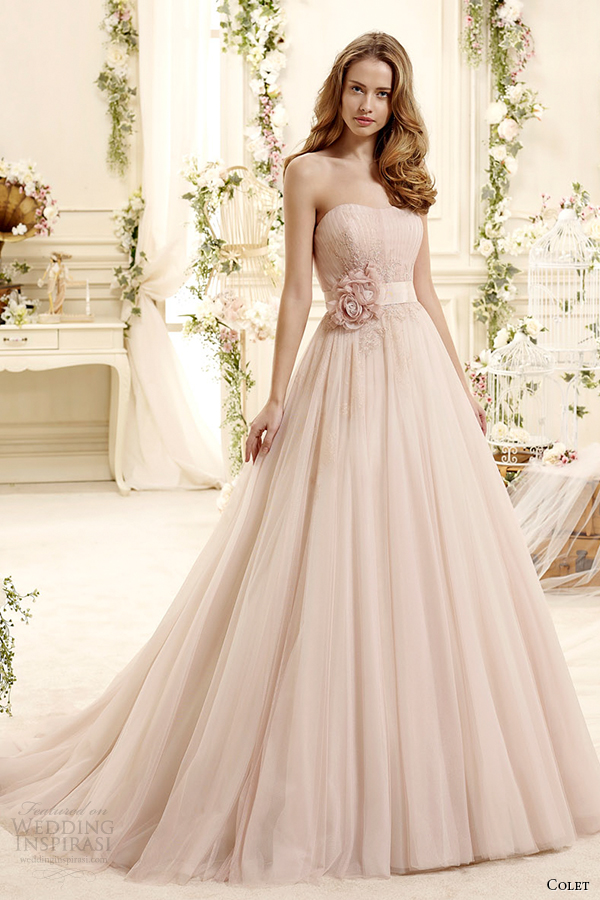 colet bridal 2015 style 20 coab15306pk strapless blush color a line wedding dress