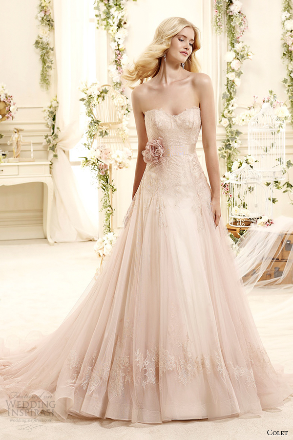 colet bridal 2015 style 3 coab15280pk sweetheart strapless a line blush color wedding dress