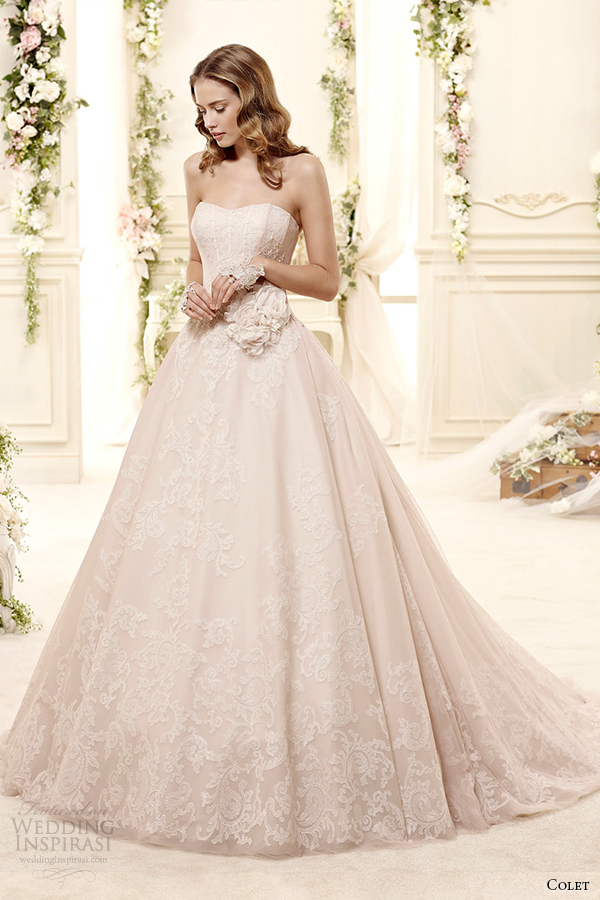 colet bridal 2015 style 4 coab15268pk sweetheart strapless a line blush color wedding dress