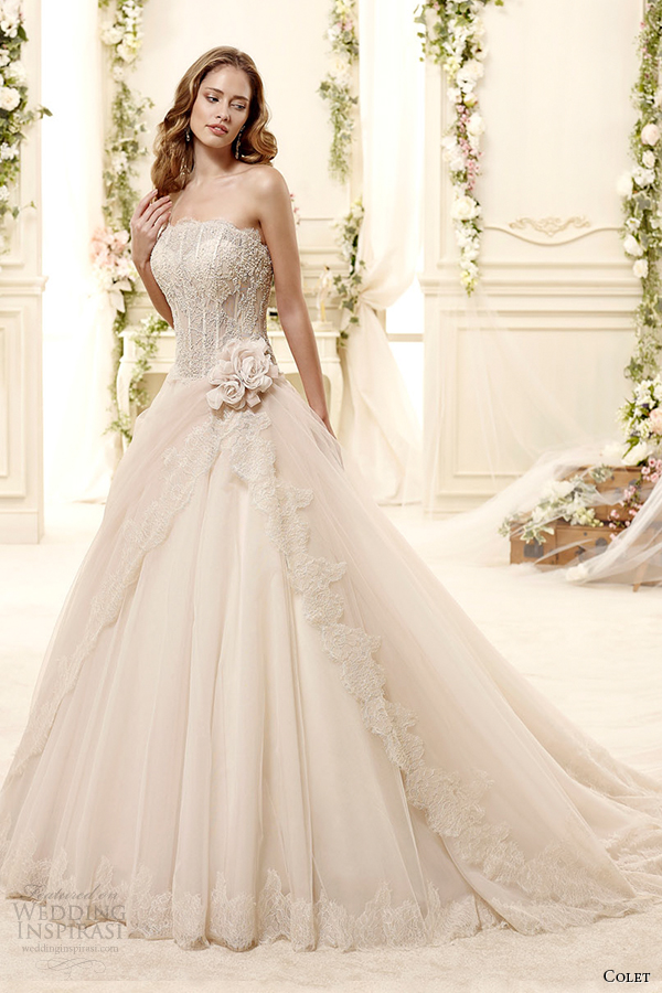 colet bridal 2015 style 5 coab15296ch straight across strapless a line blush color wedding dress