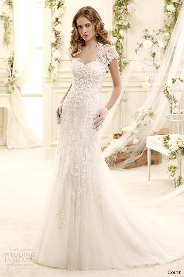 Colet Bridal 2017 Style 54 Coab15274iv Short Sleeves Princess Anne Neckline Sheath Wedding Dress