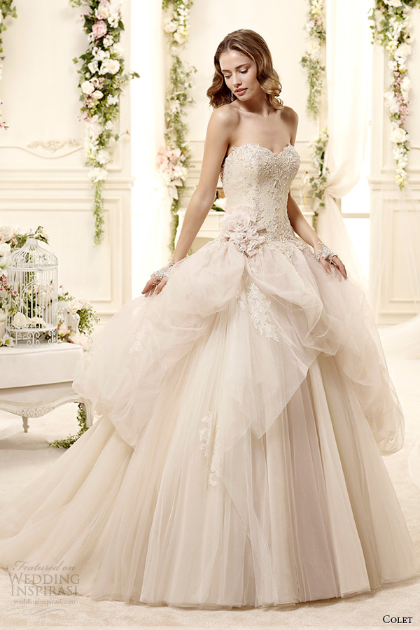 colet bridal 2015 style 6 coab15269ch champagne sweetheart strapless gathered overskirt wedding dress