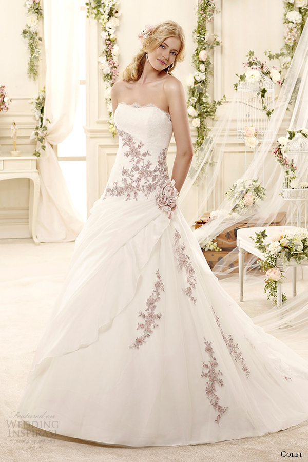 colet bridal 2015 style 7 coab15303ivll strapless a line pink lavender floral embroideried wedding dress