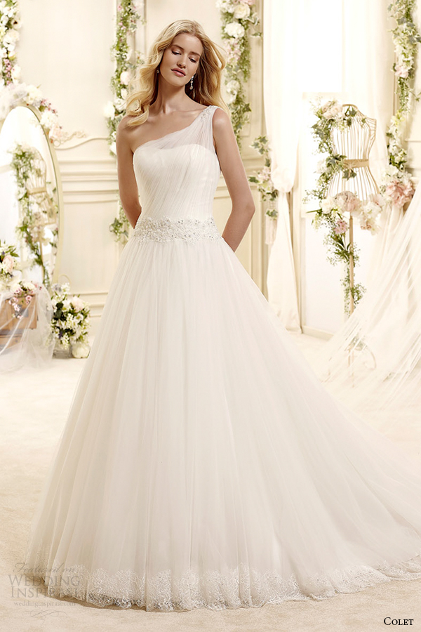 Colet Bridal 2015 Style 73 Coab15219iv One Shoulder A Line Wedding Dress With Draped Bodice
