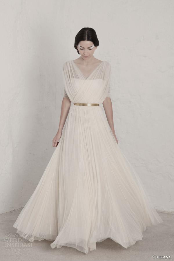 cortana 2015 bridal fortunata draped wedding dress surplice bodice gold belt