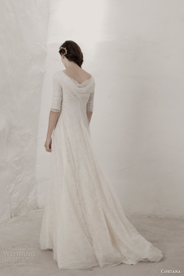 cortana bridal 2015 claudia lace wedding dress with sleeves back view