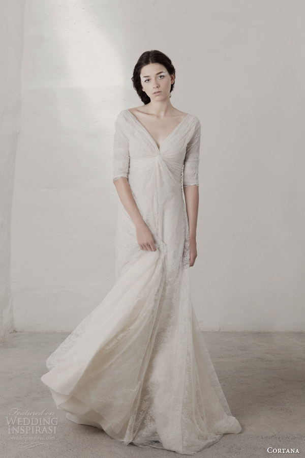 cortana bridal 2015 claudia lace wedding dress with sleeves front view