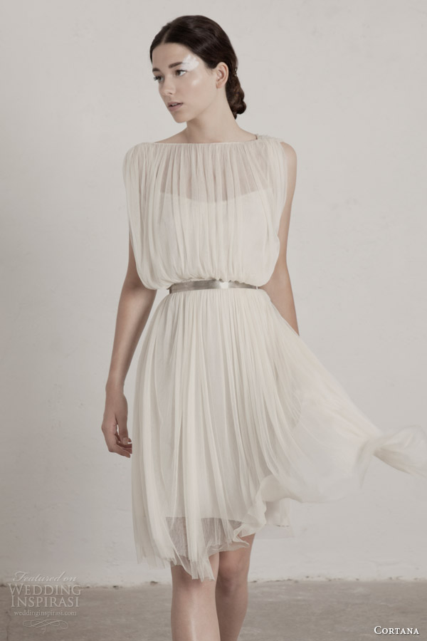 cortana bridal 2015 fortuny short wedding dress sheer draped overlay metallic belt