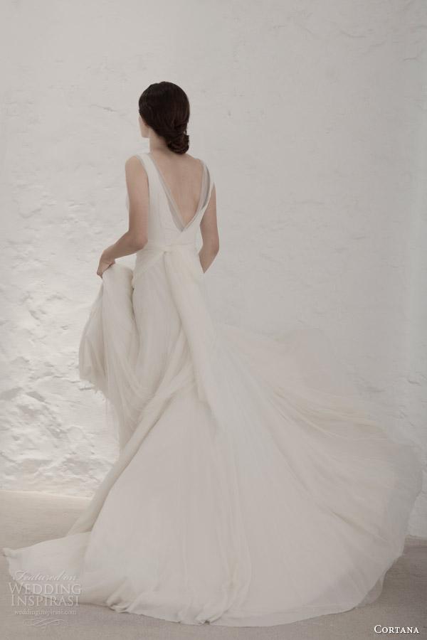 cortana bridal 2015 gypsy wedding dress cristina tulle back view train