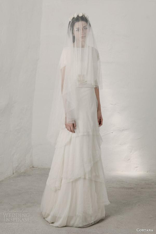 cortana bridal 2015 heras wedding dress tiered skirt