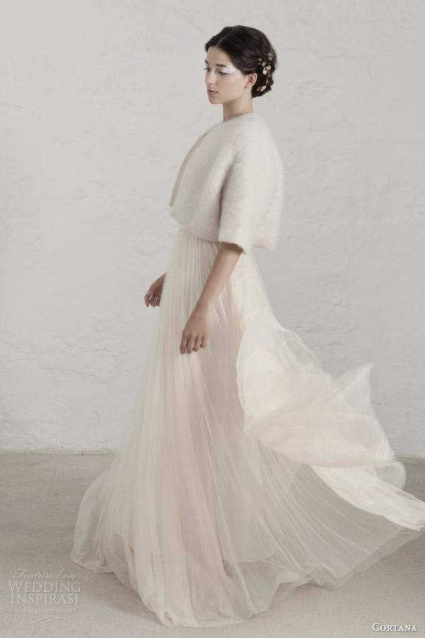 cortana wedding dresses 2015 degas sleeveless draped gown winter jacket