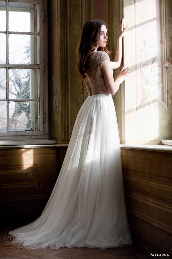 daalarna 2014 bridal cap sleeve wedding dress