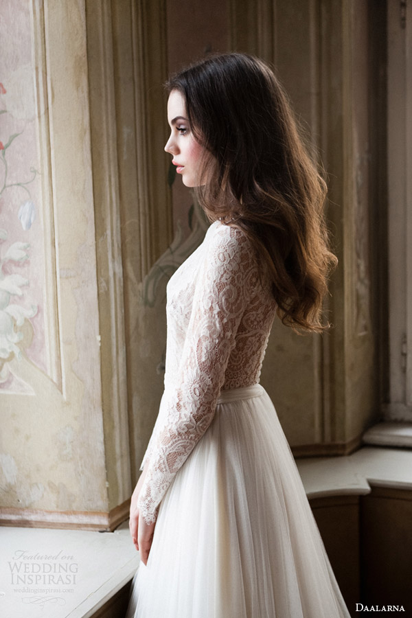 daalarna 2014 bridal long sleeve lace bodice wedding dress side view