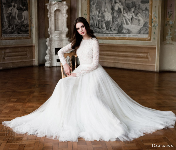 daalarna 2014 bridal long sleeve lace bodice wedding dress