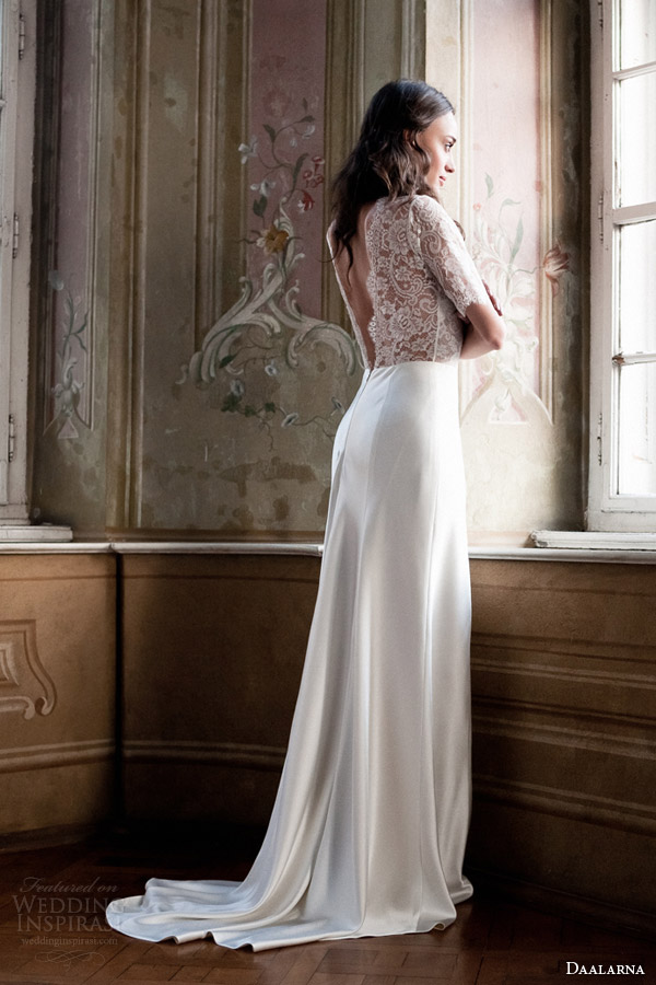 daalarna 2014 wedding dress half sleeve lace bodice