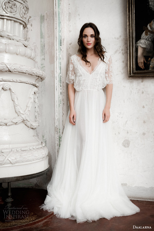 daalarna bridal 2014 flutter sleeve lace wedding dress
