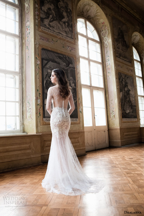 daalarna bridal 2014 illusion long sleeve wedding dress back view