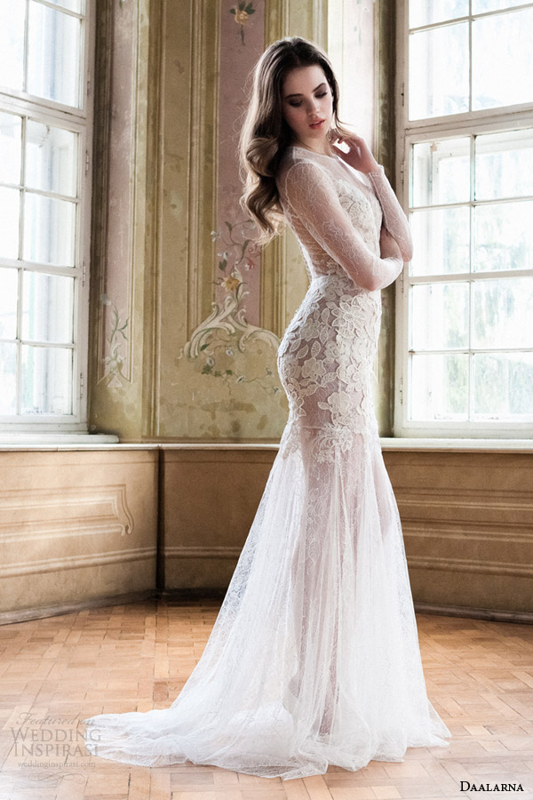 daalarna bridal 2014 illusion long sleeve wedding dress