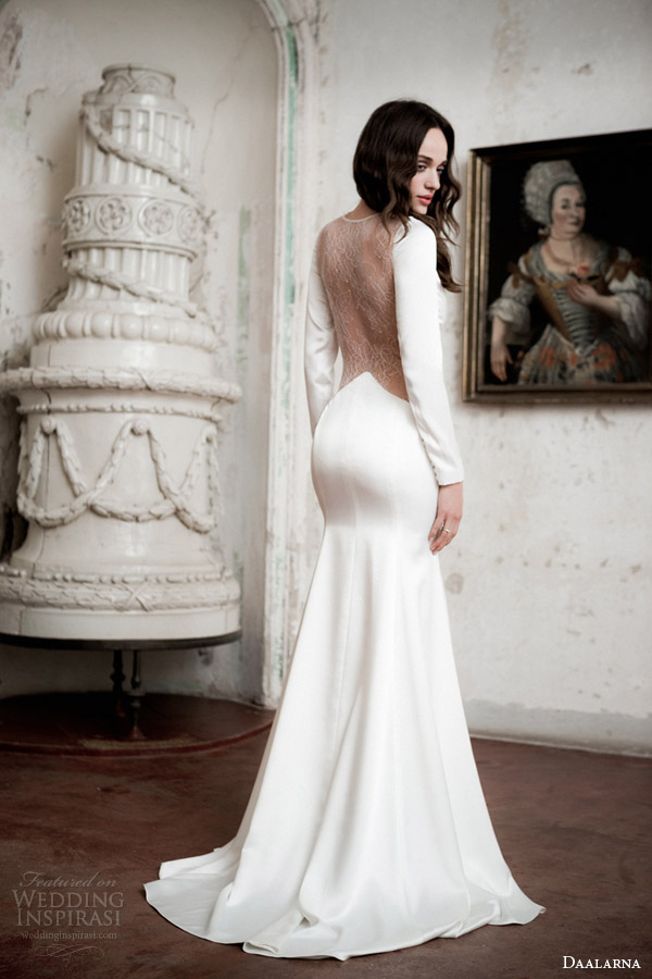 daalarna bridal 2014 long sleeve sheath wedding dress sheer bodice gored skirt