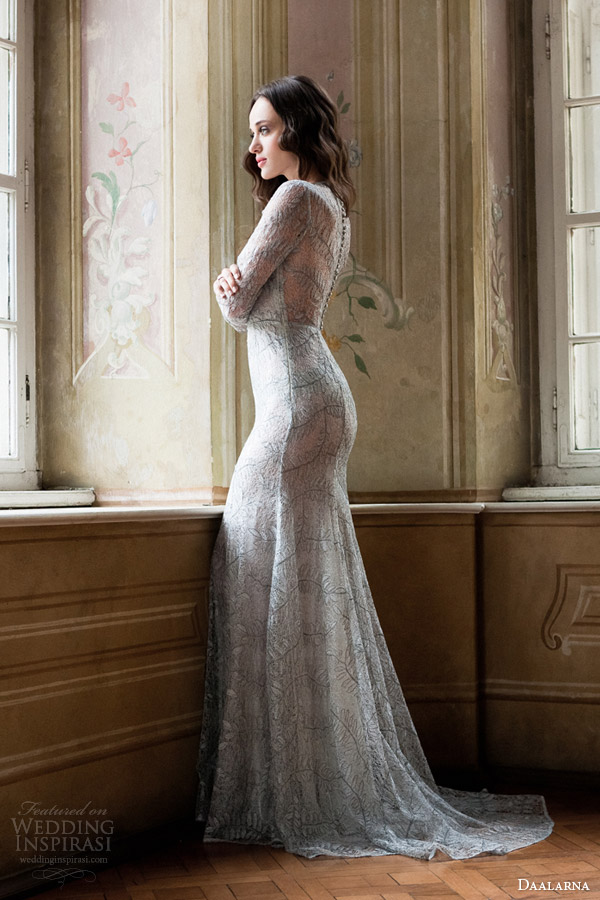 daalarna bridal 2014 long sleeve sheath wedding dress