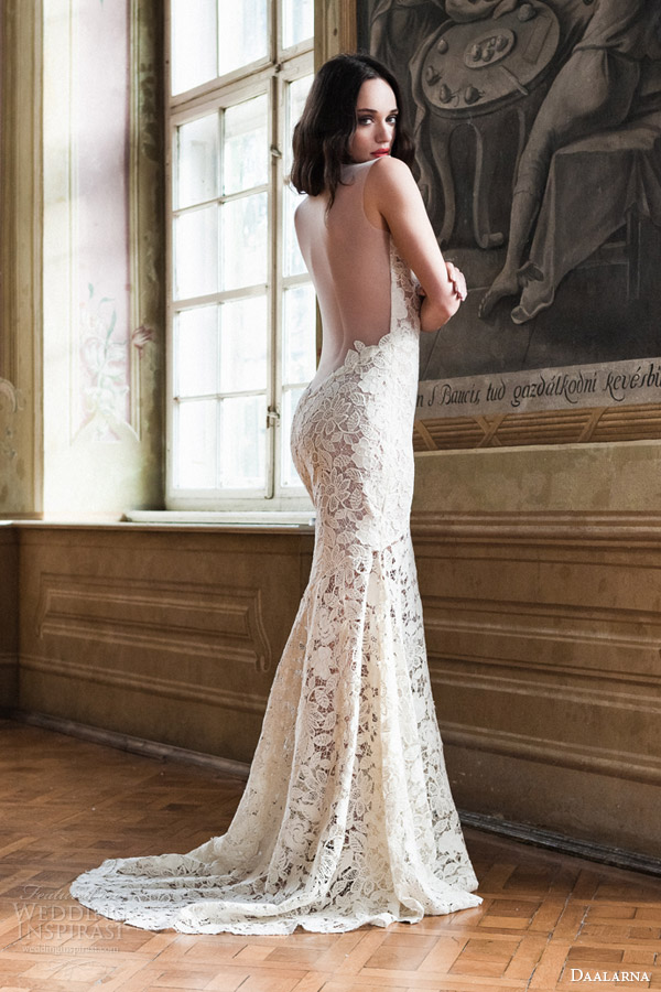 daalarna bridal 2014 sleeveless guipure sheath wedding dress back view