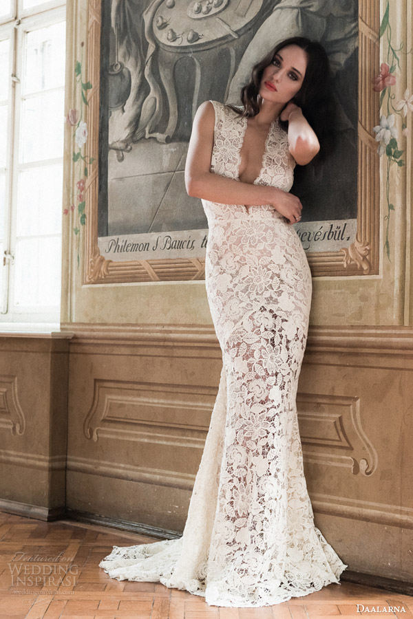 daalarna bridal 2014 sleeveless guipure sheath wedding dress full view