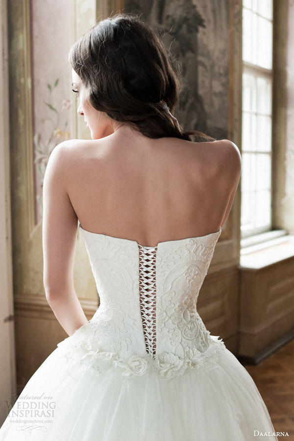 bridal 2014 strapless ball gown wedding dress back corset lace up