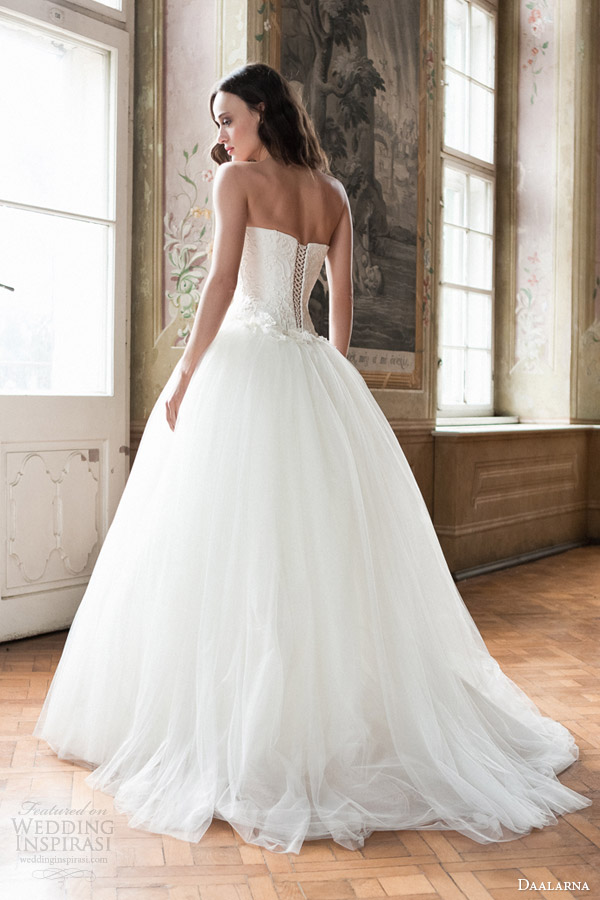 daalarna bridal 2014 strapless ball gown wedding dress back corset lace up