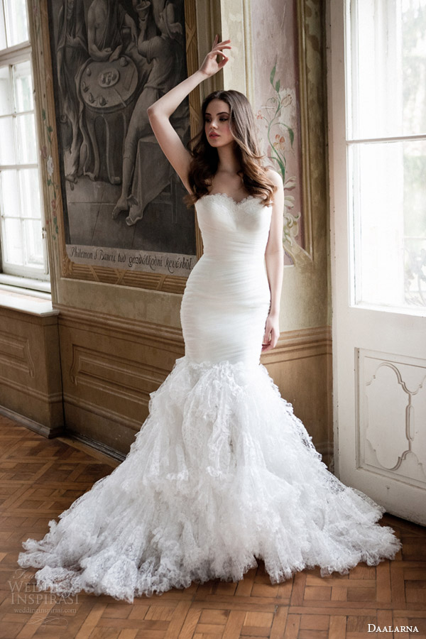 daalarna bridal 2014 strapless mermaid wedding dress with ruffle skirt full view