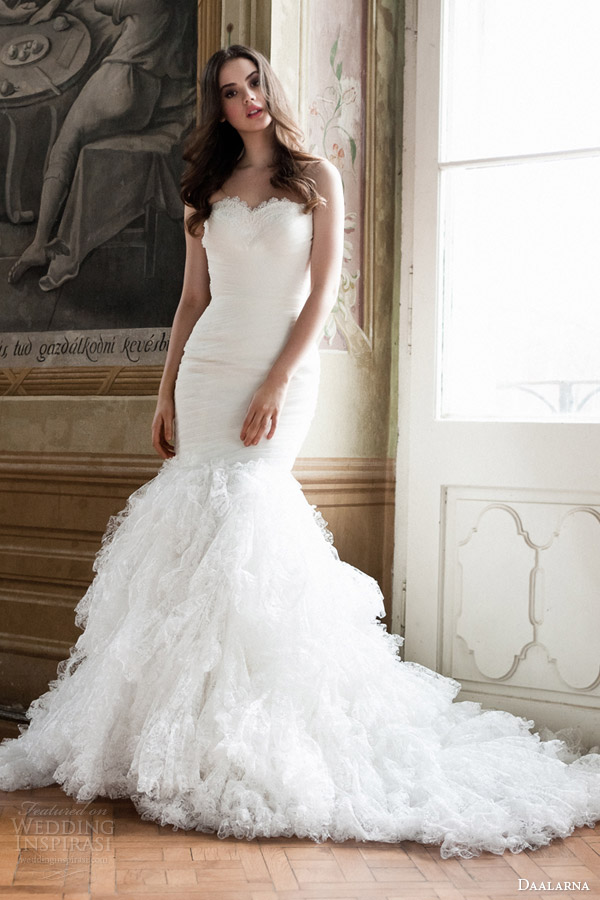daalarna bridal 2014 strapless mermaid wedding dress with ruffle skirt