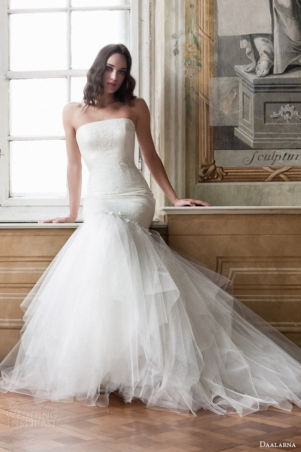 daalarna bridal 2014 strapless mermaid wedding dress