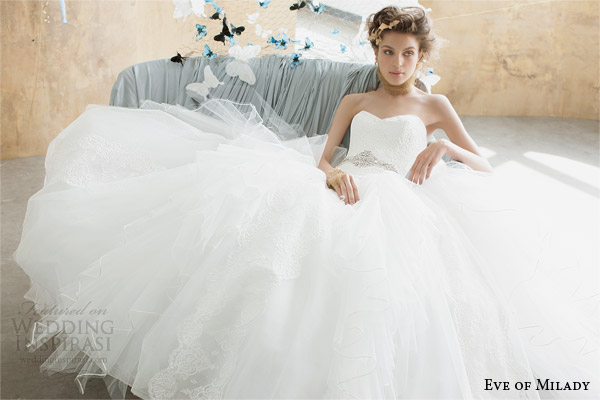 eve of milady 2014 2015 boutique collection strapless wedding dress style 1497